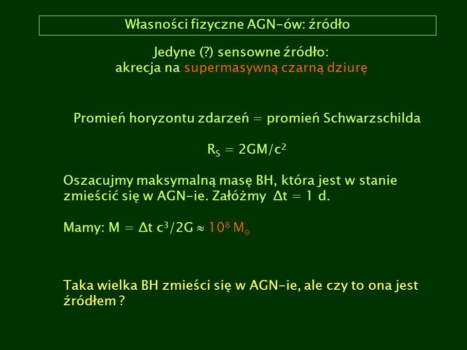 Własności fizyczne AGN-ów: źródło Jedyne (?) sensowne źródło: akrecja na supermasywną czarną dziurę Promień horyzontu zdarzeń = promień Schwarzschilda