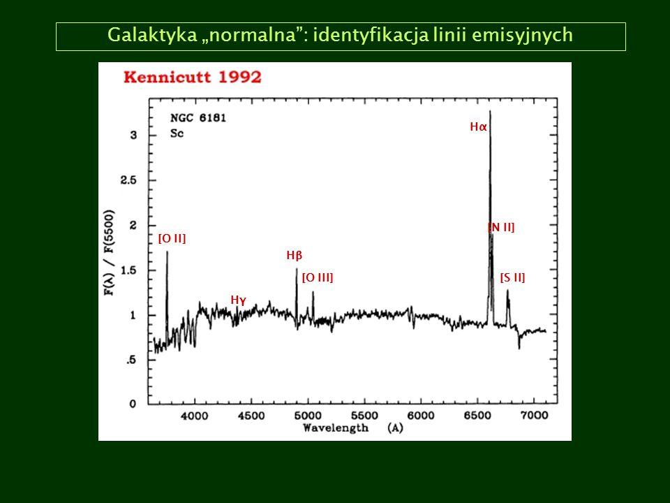 """Galaktyka """"normalna i Seyferta: porównanie HαHα HβHβ HγHγ [O III] [N II] [O II] [S II] szerokie linie emisyjne (do 10,000 km/s) wąskie linie emisyjne (do 400 km/s)"""