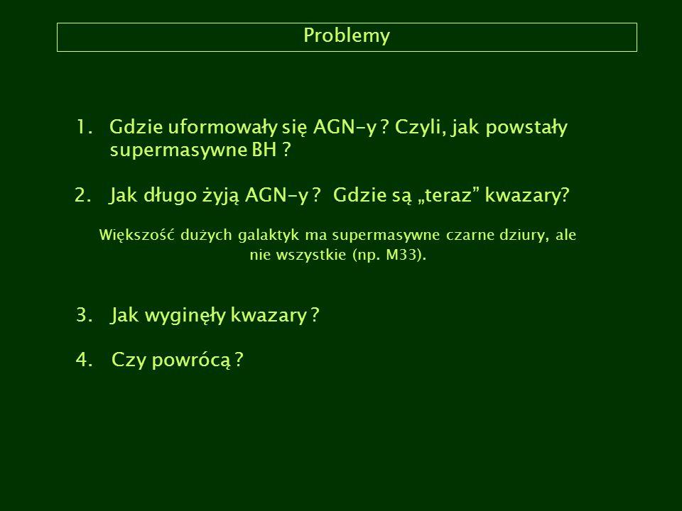 """Problemy 1.Gdzie uformowały się AGN-y ? Czyli, jak powstały supermasywne BH ? 2. Jak długo żyją AGN-y ? Gdzie są """"teraz"""" kwazary? Większość dużych gal"""