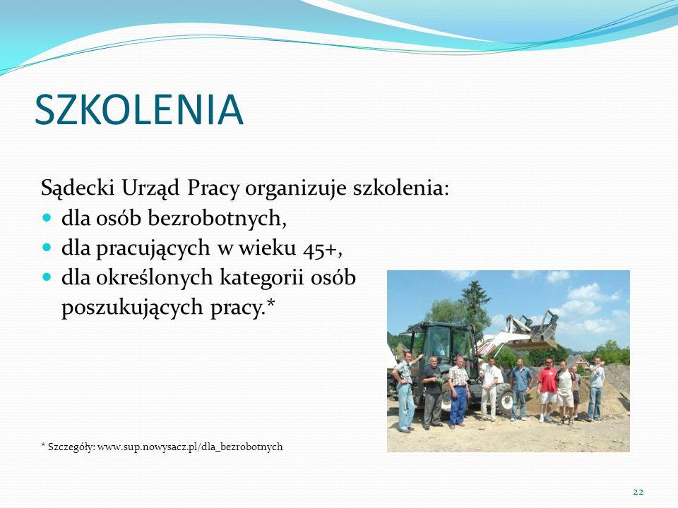 SZKOLENIA Sądecki Urząd Pracy organizuje szkolenia: dla osób bezrobotnych, dla pracujących w wieku 45+, dla określonych kategorii osób poszukujących pracy.* * Szczegóły: www.sup.nowysacz.pl/dla_bezrobotnych 22
