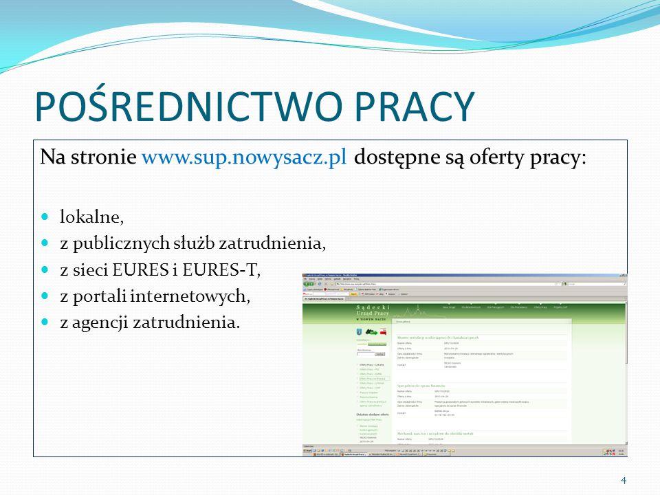 POŚREDNICTWO PRACY Na stronie www.sup.nowysacz.pl dostępne są oferty pracy: lokalne, z publicznych służb zatrudnienia, z sieci EURES i EURES-T, z portali internetowych, z agencji zatrudnienia.
