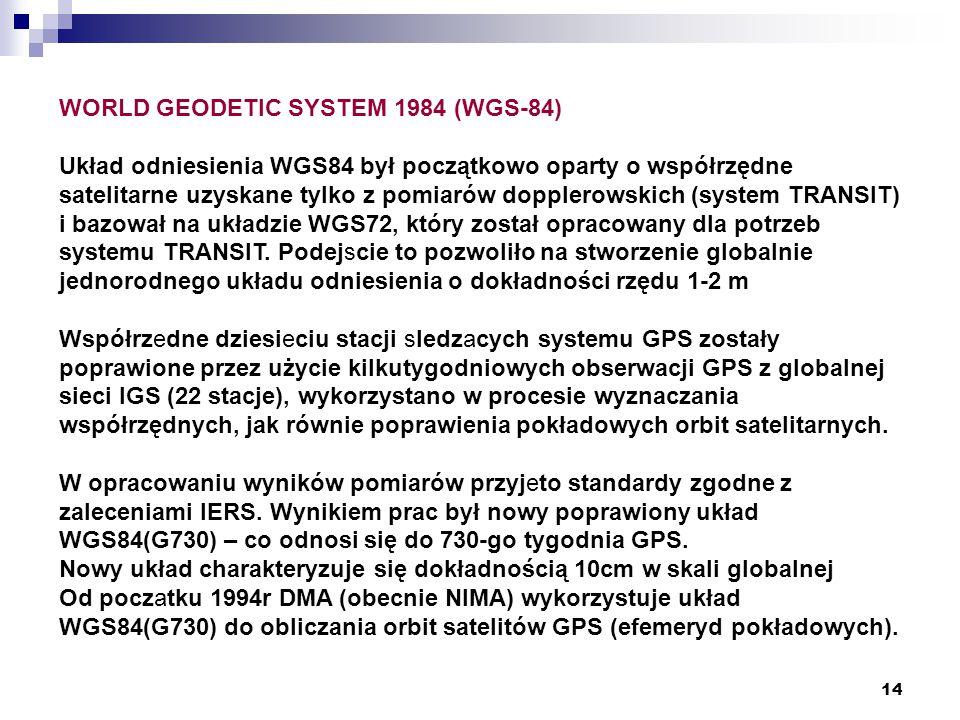 14 WORLD GEODETIC SYSTEM 1984 (WGS-84) Układ odniesienia WGS84 był początkowo oparty o współrzędne satelitarne uzyskane tylko z pomiarów dopplerowskich (system TRANSIT) i bazował na układzie WGS72, który został opracowany dla potrzeb systemu TRANSIT.