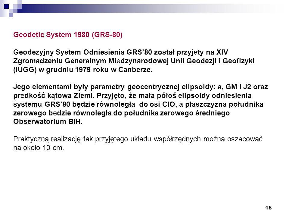 15 Geodetic System 1980 (GRS-80) Geodezyjny System Odniesienia GRS'80 został przyjety na XIV Zgromadzeniu Generalnym Miedzynarodowej Unii Geodezji i Geofizyki (IUGG) w grudniu 1979 roku w Canberze.