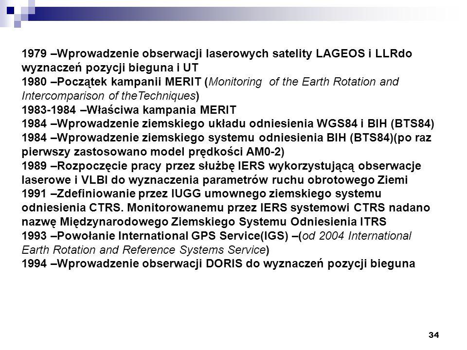 34 1979 –Wprowadzenie obserwacji laserowych satelity LAGEOS i LLRdo wyznaczeń pozycji bieguna i UT 1980 –Początek kampanii MERIT (Monitoring of the Earth Rotation and Intercomparison of theTechniques) 1983-1984 –Właściwa kampania MERIT 1984 –Wprowadzenie ziemskiego układu odniesienia WGS84 i BIH (BTS84) 1984 –Wprowadzenie ziemskiego systemu odniesienia BIH (BTS84)(po raz pierwszy zastosowano model prędkości AM0-2) 1989 –Rozpoczęcie pracy przez służbę IERS wykorzystującą obserwacje laserowe i VLBI do wyznaczenia parametrów ruchu obrotowego Ziemi 1991 –Zdefiniowanie przez IUGG umownego ziemskiego systemu odniesienia CTRS.