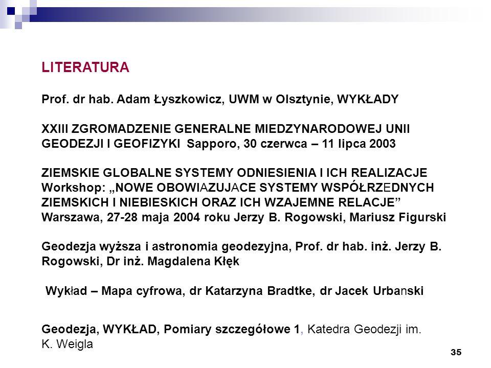 35 LITERATURA Prof. dr hab. Adam Łyszkowicz, UWM w Olsztynie, WYKŁADY XXIII ZGROMADZENIE GENERALNE MIEDZYNARODOWEJ UNII GEODEZJI I GEOFIZYKI Sapporo,