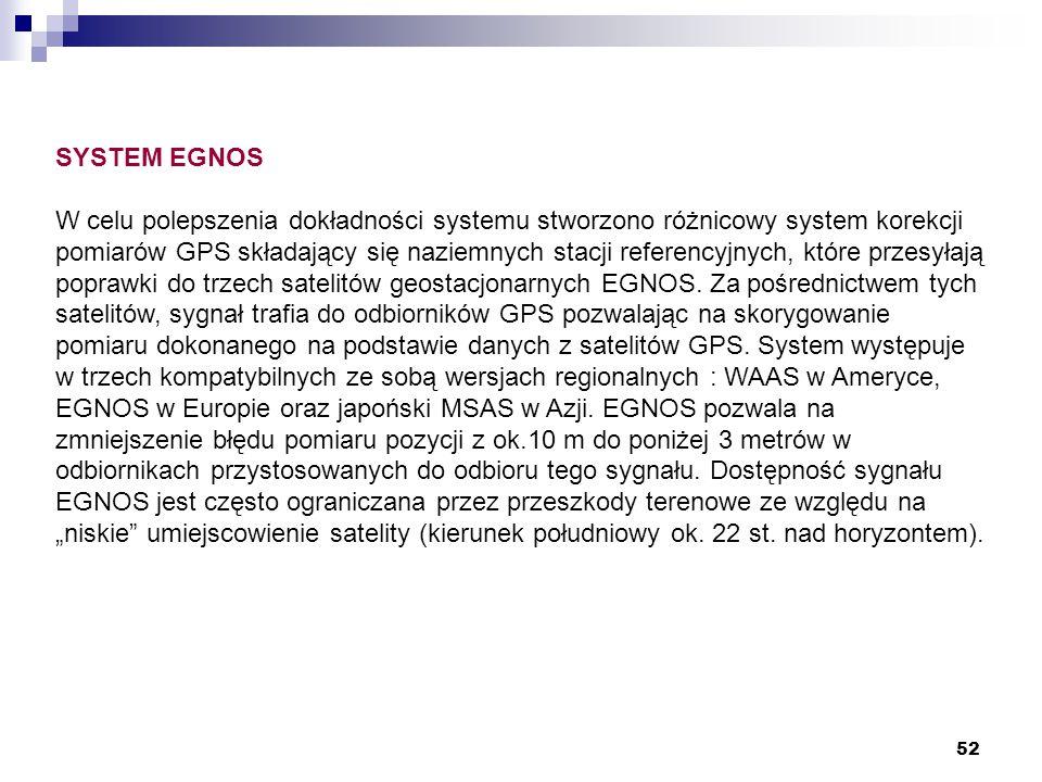 52 SYSTEM EGNOS W celu polepszenia dokładności systemu stworzono różnicowy system korekcji pomiarów GPS składający się naziemnych stacji referencyjnyc