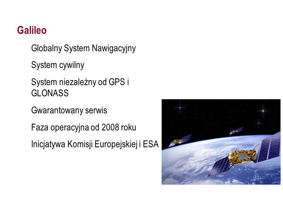 GALILEO Galileo Globalny System Nawigacyjny System cywilny System niezależny od GPS i GLONASS Gwarantowany serwis Faza operacyjna od 2008 roku Inicjatywa Komisji Europejskiej i ESA