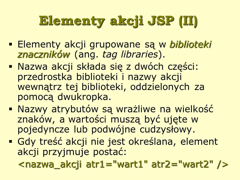 Elementy akcji JSP (II) biblioteki znaczników  Elementy akcji grupowane są w biblioteki znaczników (ang.