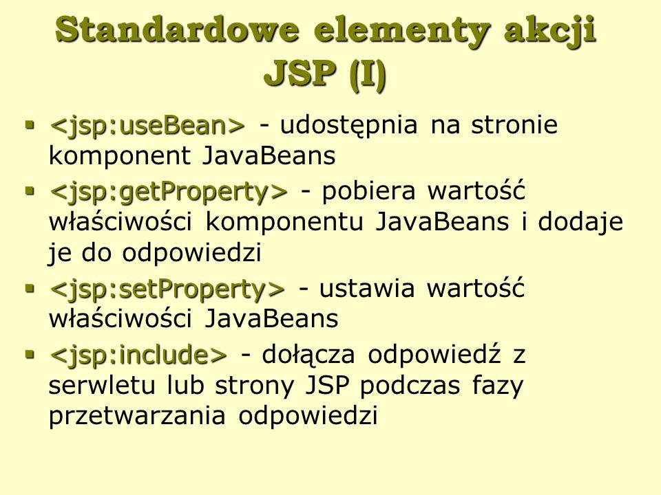 Standardowe elementy akcji JSP (I)   - udostępnia na stronie komponent JavaBeans   - pobiera wartość właściwości komponentu JavaBeans i dodaje je do odpowiedzi   - ustawia wartość właściwości JavaBeans   - dołącza odpowiedź z serwletu lub strony JSP podczas fazy przetwarzania odpowiedzi