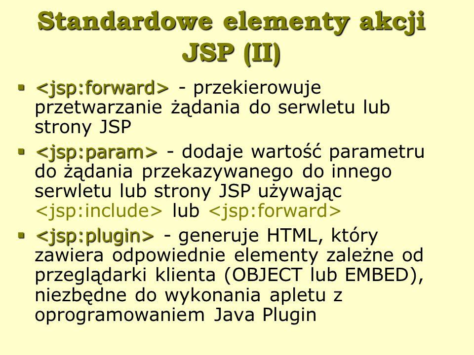Standardowe elementy akcji JSP (II)   - przekierowuje przetwarzanie żądania do serwletu lub strony JSP   - dodaje wartość parametru do żądania przekazywanego do innego serwletu lub strony JSP używając lub   - generuje HTML, który zawiera odpowiednie elementy zależne od przeglądarki klienta (OBJECT lub EMBED), niezbędne do wykonania apletu z oprogramowaniem Java Plugin