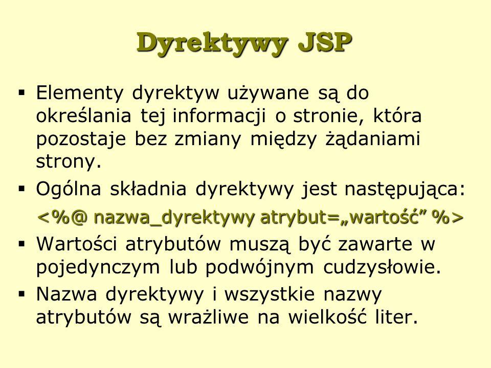 Dyrektywy JSP  Elementy dyrektyw używane są do określania tej informacji o stronie, która pozostaje bez zmiany między żądaniami strony.