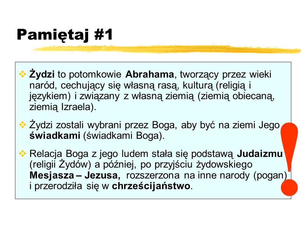 Pamiętaj #1  Żydzi to potomkowie Abrahama, tworzący przez wieki naród, cechujący się własną rasą, kulturą (religią i językiem) i związany z własną ziemią (ziemią obiecaną, ziemią Izraela).