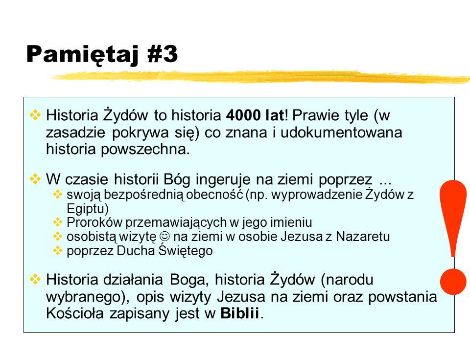 Pamiętaj #3  Historia Żydów to historia 4000 lat! Prawie tyle (w zasadzie pokrywa się) co znana i udokumentowana historia powszechna.  W czasie hist