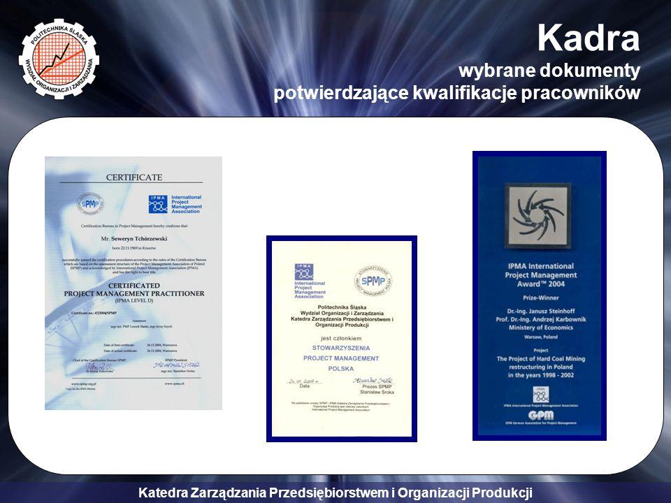 Katedra Zarządzania Przedsiębiorstwem i Organizacji Produkcji Kadra wybrane dokumenty potwierdzające kwalifikacje pracowników