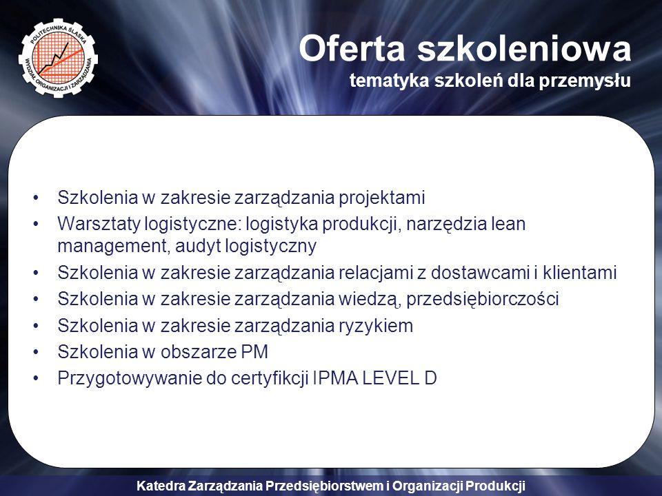 Katedra Zarządzania Przedsiębiorstwem i Organizacji Produkcji Oferta badawcza i konsultingowa Projektowanie systemów zarządzania Opracowanie strategii i biznes planów przedsiębiorstw i przedsięwzięć Audyt systemu zarządzania przedsiębiorstwem Projekty restrukturyzacji Projekty systemów opartych na Strategicznej Karcie Wyników (BSC) Procedury i implementacja systemów Strategicznej Karty Wyników Opracowanie dokumentacji organizacyjnej Wartościowanie stanowisk pracy Opracowanie studium wykonalności Analiza opłacalności inwestycji