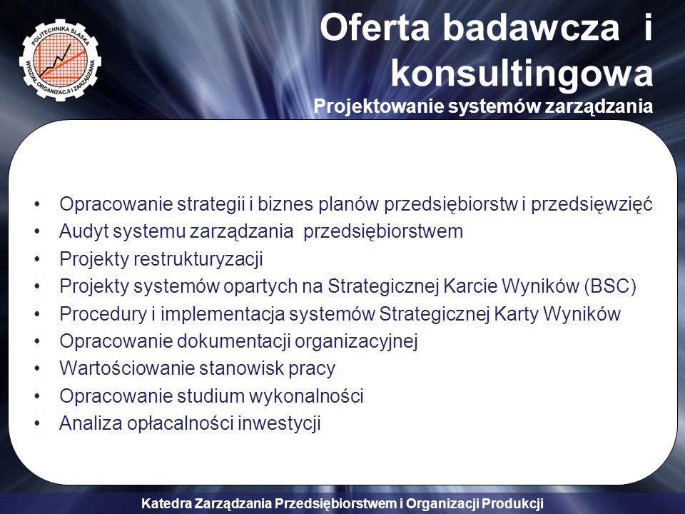 Katedra Zarządzania Przedsiębiorstwem i Organizacji Produkcji Oferta badawcza i konsultingowa Zarządzanie ryzykiem, zarządzanie wiedzą Analiza kapitału intelektualnego organizacji Opracowanie i wdrożenie systemu zarządzania wiedzą w przedsiębiorstwie Doradztwo w zakresie zarządzania wartością Alokacja wartości w przedsiębiorstwie Opracowanie koncepcji zarządzania finansami przedsiębiorstwa w sytuacjach krytycznych Identyfikacja i dobór metod zarządzania ryzykiem finansowym przedsiębiorstwa Wypracowanie modelu rozwoju kompetencji menedżerów dla wybranego przedsiębiorstwa lub grupy przedsiębiorstw