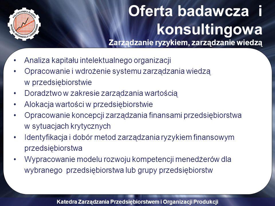 Katedra Zarządzania Przedsiębiorstwem i Organizacji Produkcji Oferta badawcza i konsultingowa Zarządzanie ryzykiem, zarządzanie wiedzą Analiza kapitał