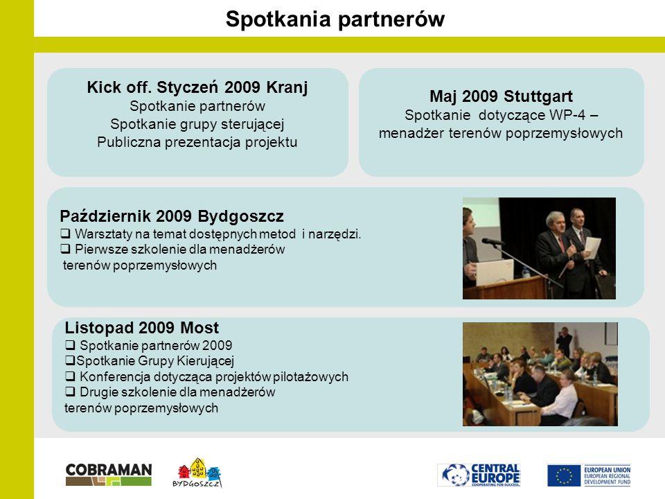 Spotkania partnerów Maj 2009 Stuttgart Spotkanie dotyczące WP-4 – menadżer terenów poprzemysłowych Październik 2009 Bydgoszcz  Warsztaty na temat dostępnych metod i narzędzi.