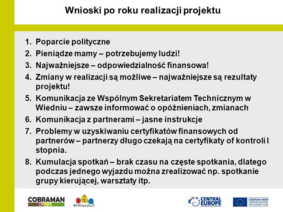 Wnioski po roku realizacji projektu 1.Poparcie polityczne 2.Pieniądze mamy – potrzebujemy ludzi.