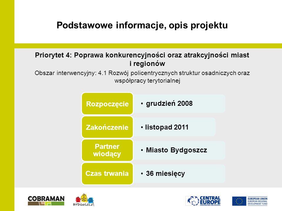 Partnerzy projektu LP - Miasto Bydgoszcz (PL) PP2 - Miasto Stuttgart (GE) PP3 - Wyższa Szkoła Gospodarki w Bydgoszczy (PL) PP4 - Miasto Most (CZ) PP5 - VSB- Uniwersytet Techniczny w Ostrawie (CZ) PP6 - Miasto Kranj (SL) PP7 - Miasto Usti nad Labem (CZ) PP8 - SIPRO County Board for Development – Ferrara (IT) PP9 - Instytut Planowania Urbanistycznego Słowenia (SL)