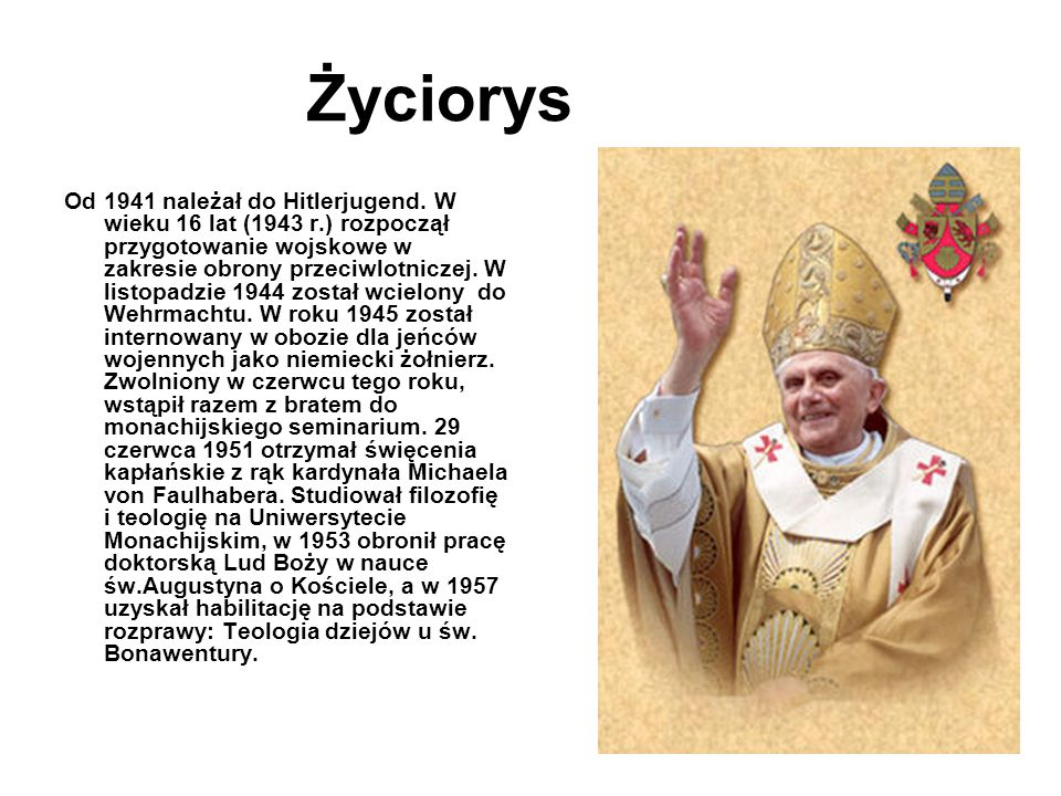 Joseph Ratzinger kardynałem W marcu 1977 papież Paweł VI nominował Ratzingera arcybiskupem Monachium i Fryzyngi, zaś na konsystorzu w czerwcu mianował kardynałem.
