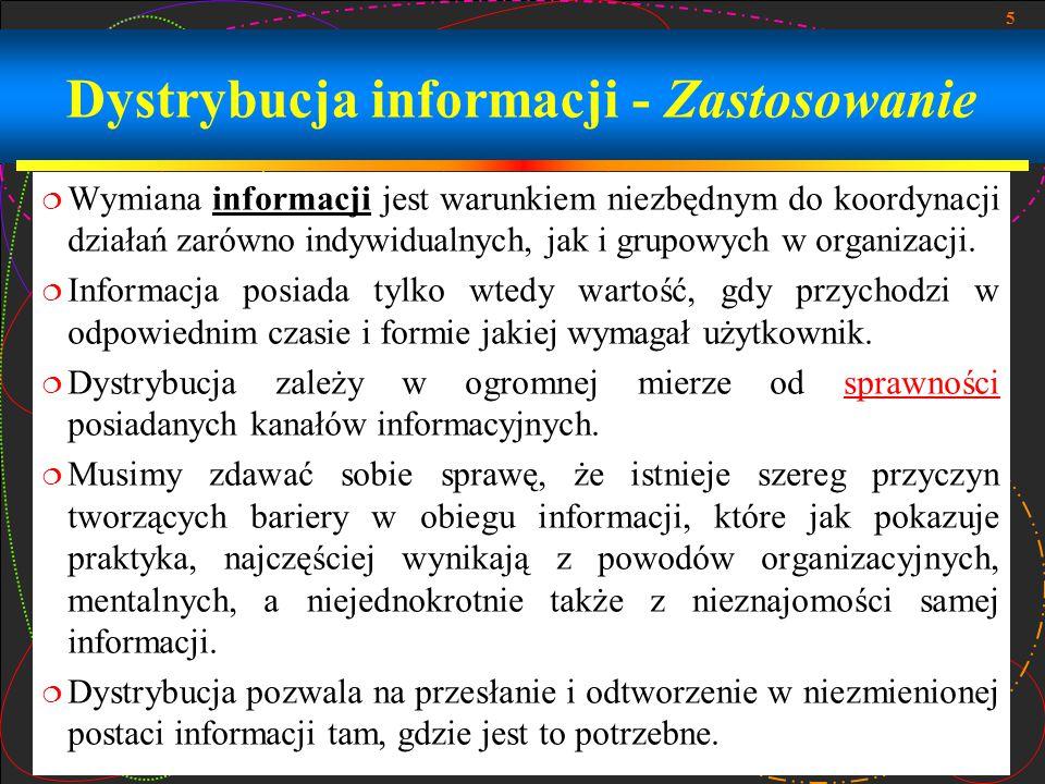 5 Dystrybucja informacji - Zastosowanie  Wymiana informacji jest warunkiem niezbędnym do koordynacji działań zarówno indywidualnych, jak i grupowych w organizacji.