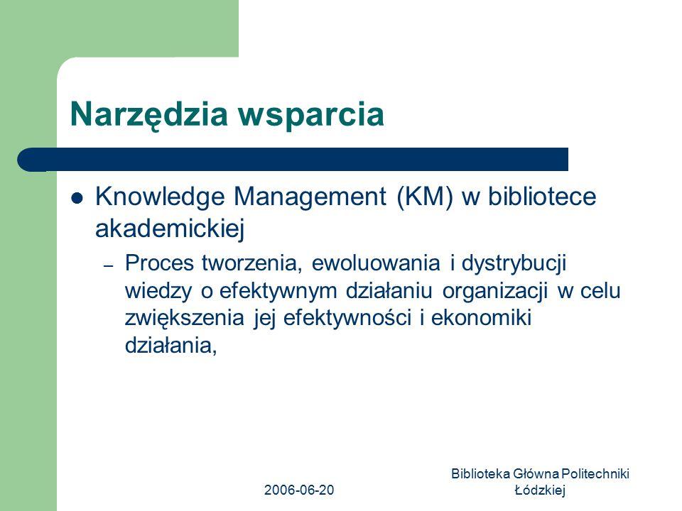 2006-06-20 Biblioteka Główna Politechniki Łódzkiej Narzędzia wsparcia Knowledge Management (KM) w bibliotece akademickiej – Proces tworzenia, ewoluowa