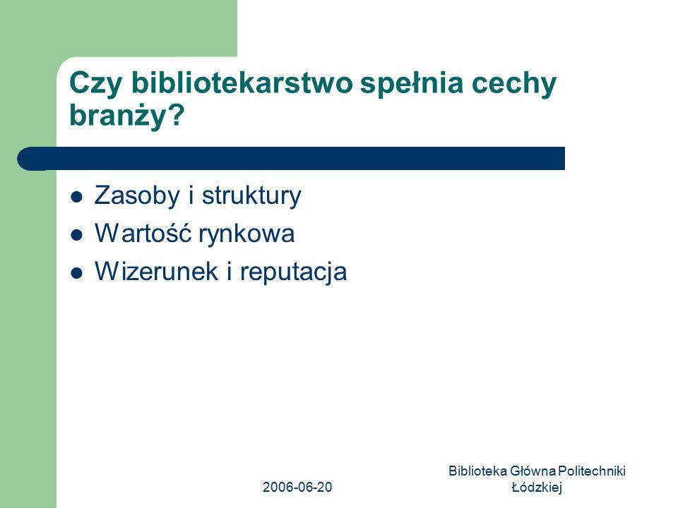 2006-06-20 Biblioteka Główna Politechniki Łódzkiej Czy bibliotekarstwo spełnia cechy branży? Zasoby i struktury Wartość rynkowa Wizerunek i reputacja