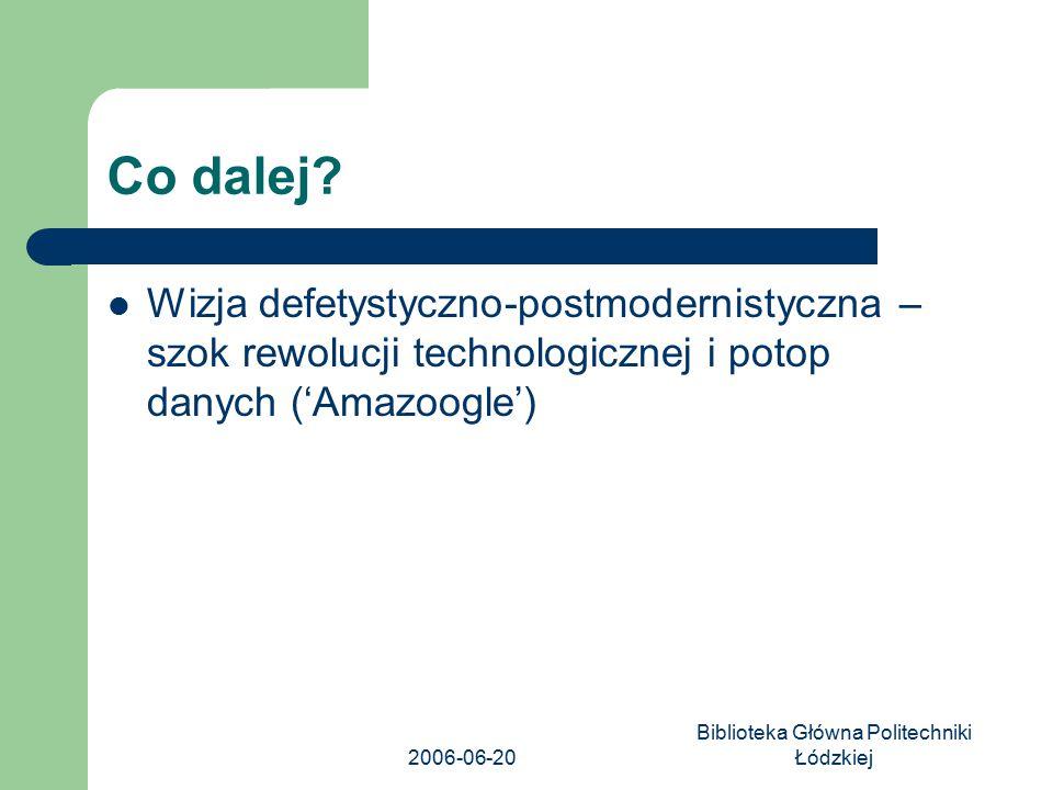 2006-06-20 Biblioteka Główna Politechniki Łódzkiej Co dalej? Wizja defetystyczno-postmodernistyczna – szok rewolucji technologicznej i potop danych ('