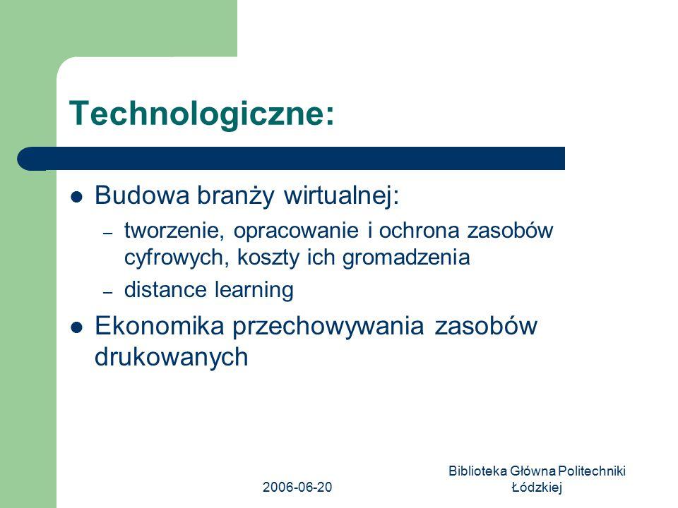 2006-06-20 Biblioteka Główna Politechniki Łódzkiej Technologiczne: Budowa branży wirtualnej: – tworzenie, opracowanie i ochrona zasobów cyfrowych, kos