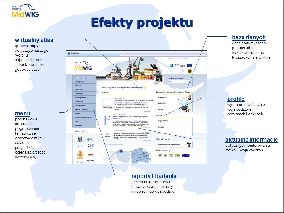 Efekty projektu baza danych  zapewnia dostęp do aktualnych danych w postaci tablic, wykresów i map generowanych on-line