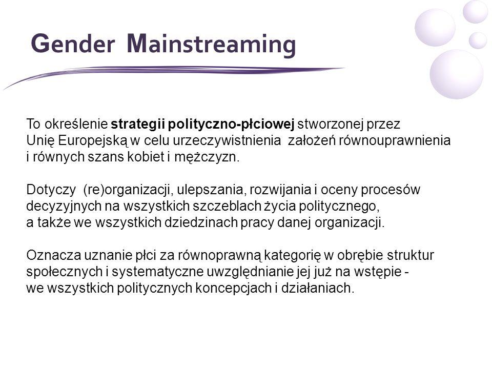 G ender M ainstreaming To określenie strategii polityczno-płciowej stworzonej przez Unię Europejską w celu urzeczywistnienia założeń równouprawnienia i równych szans kobiet i mężczyzn.