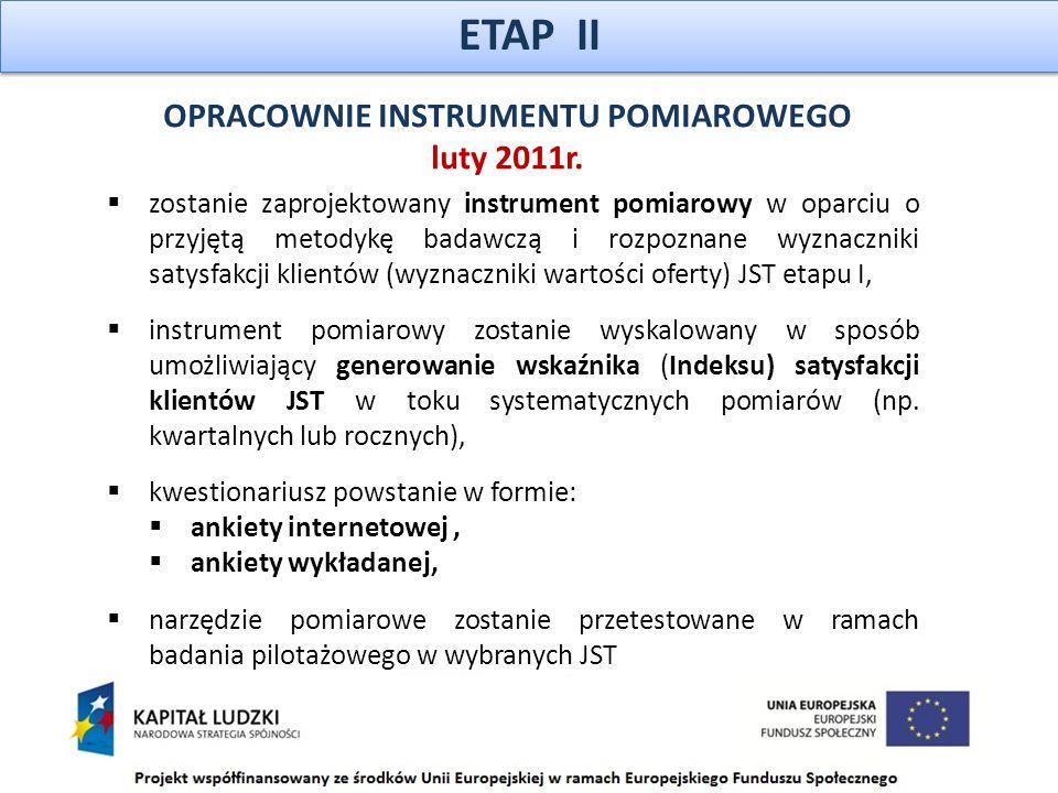 ETAP II  zostanie zaprojektowany instrument pomiarowy w oparciu o przyjętą metodykę badawczą i rozpoznane wyznaczniki satysfakcji klientów (wyznaczniki wartości oferty) JST etapu I,  instrument pomiarowy zostanie wyskalowany w sposób umożliwiający generowanie wskaźnika (Indeksu) satysfakcji klientów JST w toku systematycznych pomiarów (np.