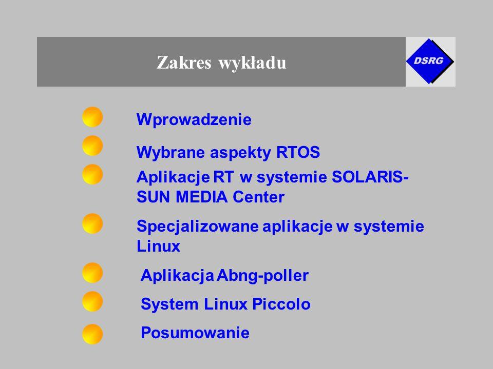 Zakres wykładu Posumowanie Aplikacja Abng-poller Aplikacje RT w systemie SOLARIS- SUN MEDIA Center Specjalizowane aplikacje w systemie Linux Wybrane aspekty RTOS System Linux Piccolo Wprowadzenie