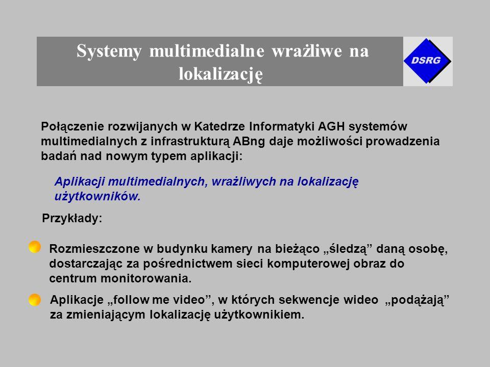 Systemy multimedialne wrażliwe na lokalizację Połączenie rozwijanych w Katedrze Informatyki AGH systemów multimedialnych z infrastrukturą ABng daje możliwości prowadzenia badań nad nowym typem aplikacji: Aplikacji multimedialnych, wrażliwych na lokalizację użytkowników.