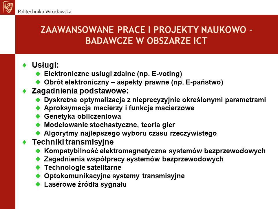  Usługi:  Elektroniczne usługi zdalne (np. E-voting)  Obrót elektroniczny – aspekty prawne (np. E-państwo)  Zagadnienia podstawowe:  Dyskretna op