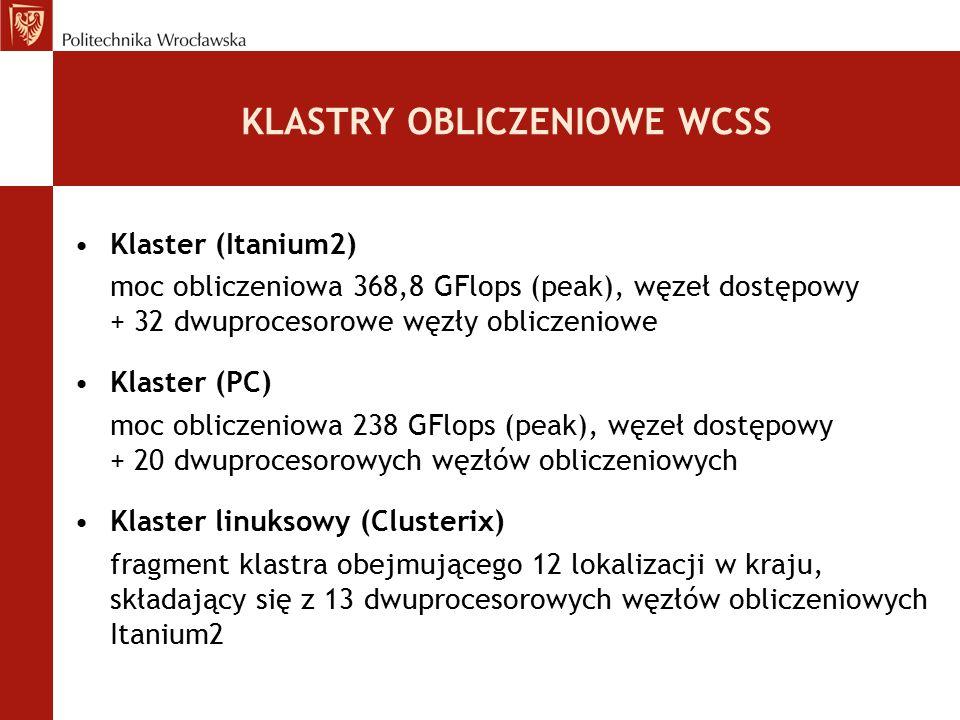 KLASTRY OBLICZENIOWE WCSS Klaster (Itanium2) moc obliczeniowa 368,8 GFlops (peak), węzeł dostępowy + 32 dwuprocesorowe węzły obliczeniowe Klaster (PC)