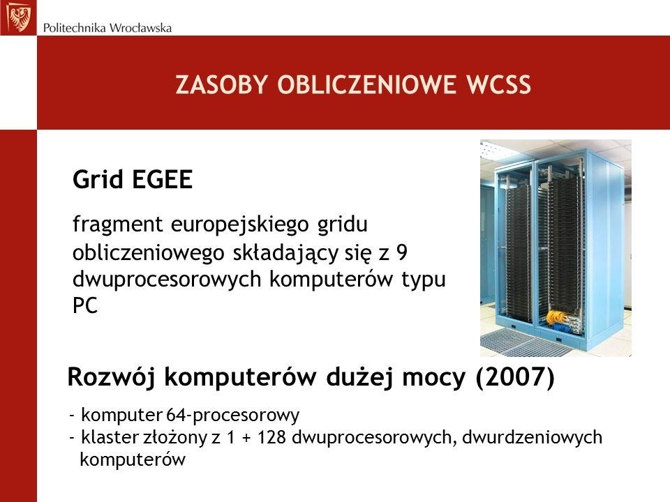 ZASOBY OBLICZENIOWE WCSS Grid EGEE fragment europejskiego gridu obliczeniowego składający się z 9 dwuprocesorowych komputerów typu PC Rozwój komputeró