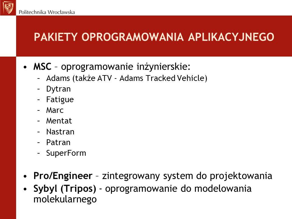 PAKIETY OPROGRAMOWANIA APLIKACYJNEGO MSC – oprogramowanie inżynierskie: –Adams (także ATV - Adams Tracked Vehicle) –Dytran –Fatigue –Marc –Mentat –Nas