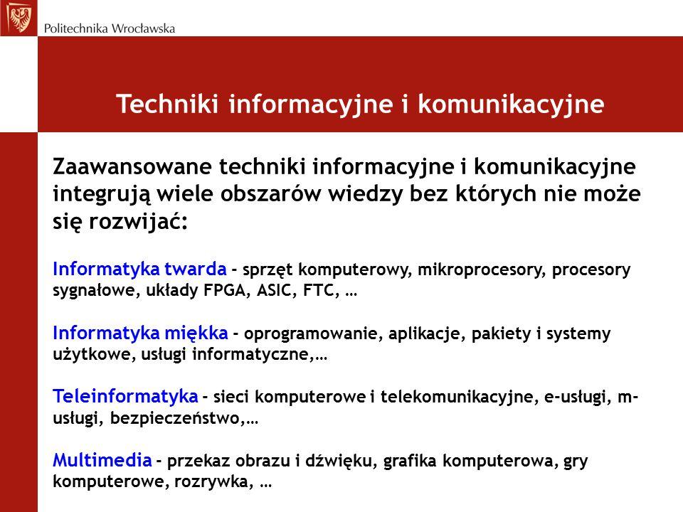 Techniki informacyjne i komunikacyjne Zaawansowane techniki informacyjne i komunikacyjne integrują wiele obszarów wiedzy bez których nie może się rozw