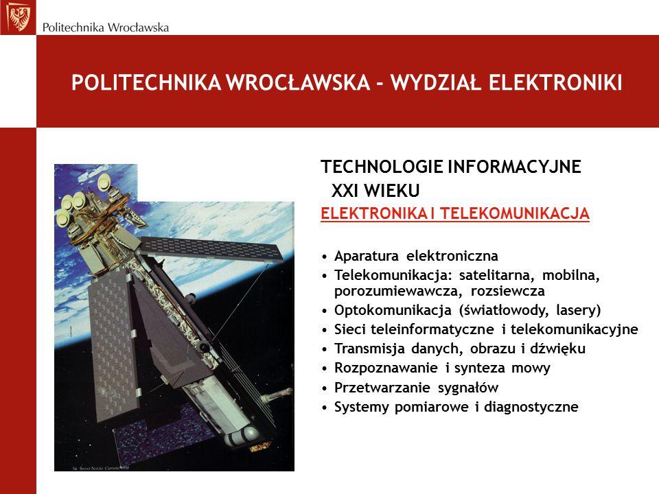 TECHNOLOGIE INFORMACYJNE XXI WIEKU AUTOMATYKA I ROBOTYKA Informatyka przemysłowa Przemysłowe sieci komputerowe Mikrokontrolery Akwizycja i przetwarzanie danych pomiarowych Sterowanie procesów i urządzeń przemysłowych Systemy autonomiczne Inteligentne roboty mobilne i manipulacyjne POLITECHNIKA WROCŁAWSKA - WYDZIAŁ ELEKTRONIKI