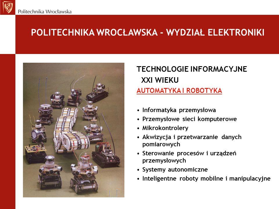 TECHNOLOGIE INFORMACYJNE XXI WIEKU AUTOMATYKA I ROBOTYKA Informatyka przemysłowa Przemysłowe sieci komputerowe Mikrokontrolery Akwizycja i przetwarzan