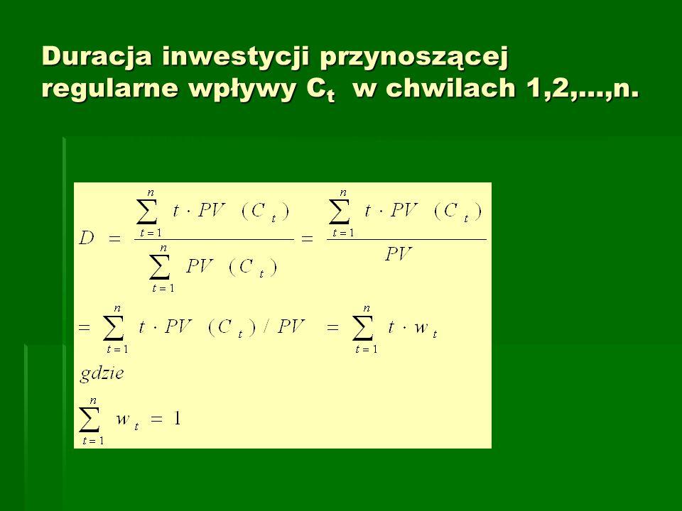 Duracja inwestycji przynoszącej regularne wpływy C t w chwilach 1,2,…,n.