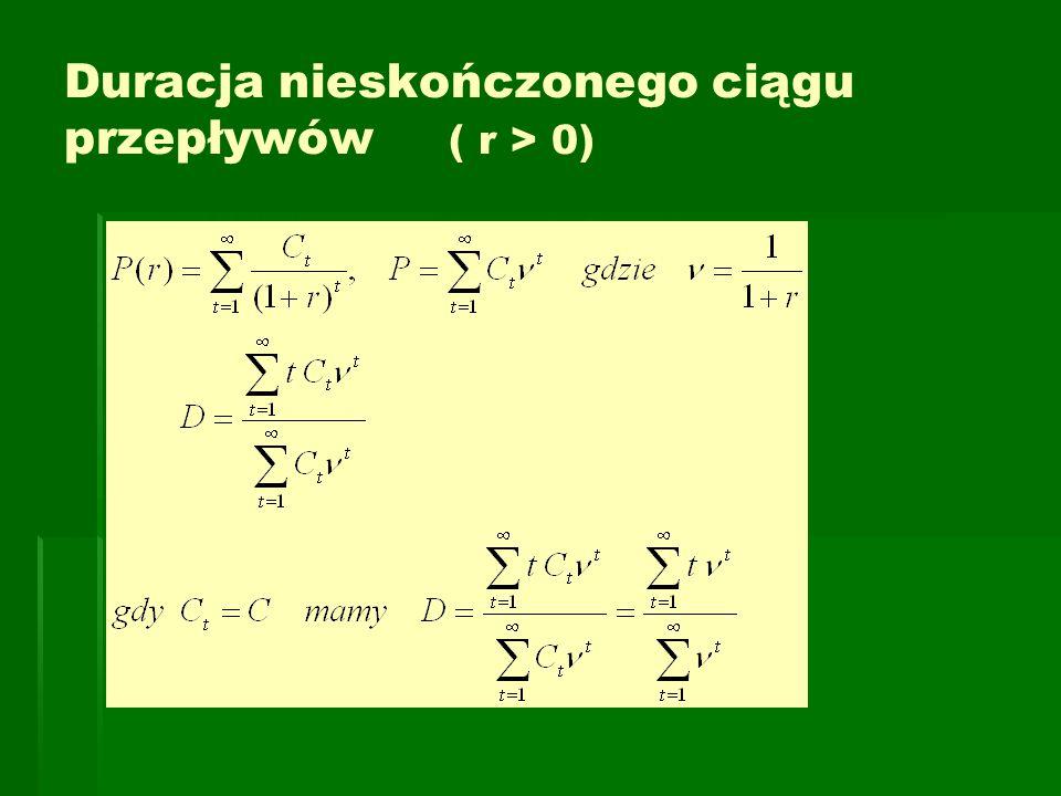 Duracja nieskończonego ciągu przepływów ( r > 0)