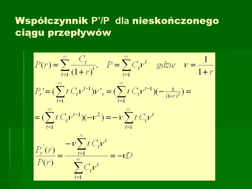 Współczynnik P'/P dla nieskończonego ciągu przepływów