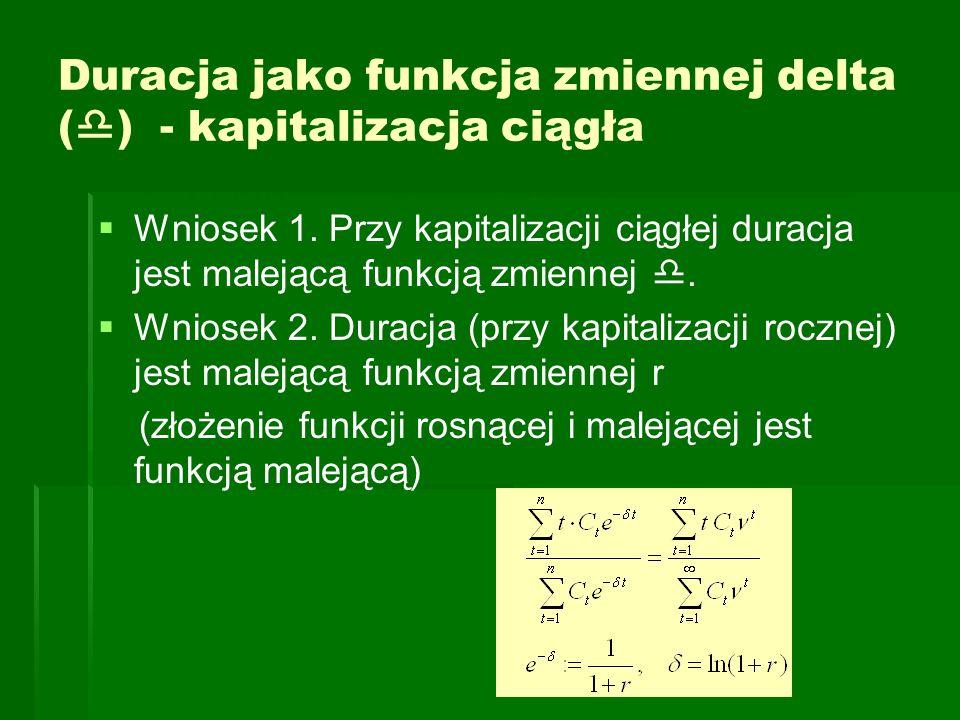 Duracja jako funkcja zmiennej delta (  ) - kapitalizacja ciągła   Wniosek 1. Przy kapitalizacji ciągłej duracja jest malejącą funkcją zmiennej . 