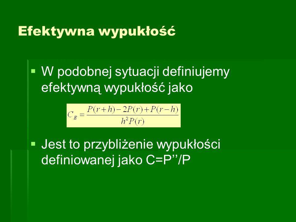 Efektywna wypukłość   W podobnej sytuacji definiujemy efektywną wypukłość jako   Jest to przybliżenie wypukłości definiowanej jako C=P''/P