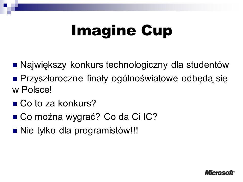 Imagine Cup Największy konkurs technologiczny dla studentów Przyszłoroczne finały ogólnoświatowe odbędą się w Polsce.