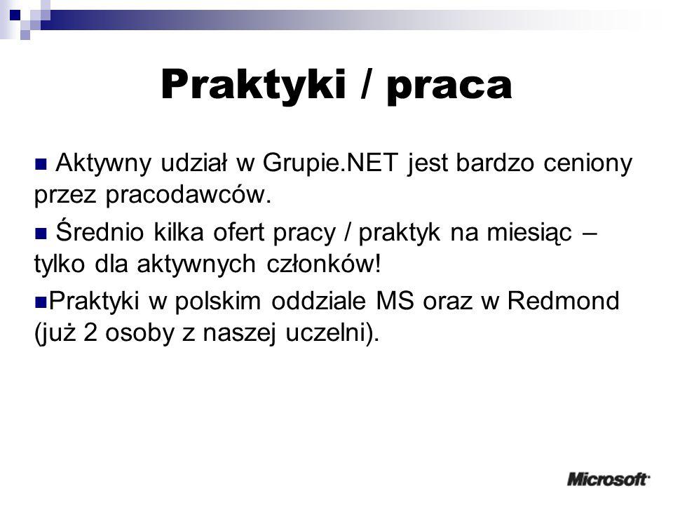 Praktyki / praca Aktywny udział w Grupie.NET jest bardzo ceniony przez pracodawców.