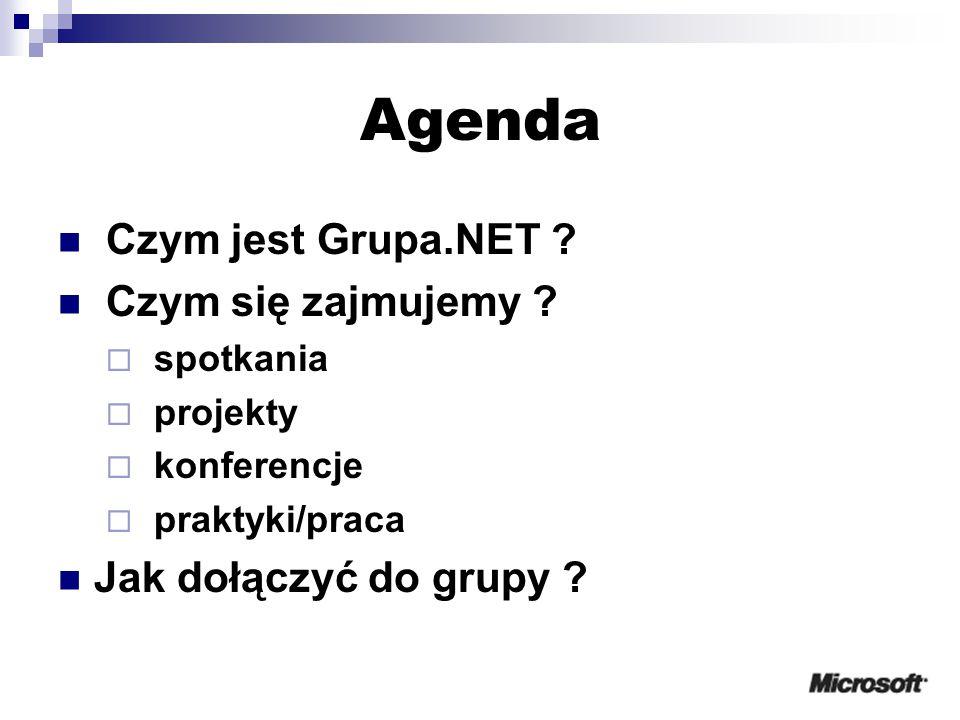Agenda Czym jest Grupa.NET . Czym się zajmujemy .